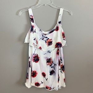 Maurice's White Sleeveless Floral Top Size Medium